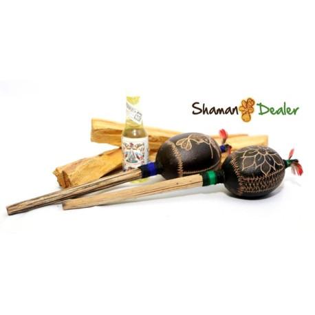 Shaman holy set (palo santo sticks, palo santo oil and rattles) ANDEAN REIKI