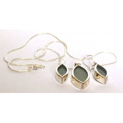 Coca leaves jewels( pendant + earrings) from Peru (950 silver) ANDEAN ART